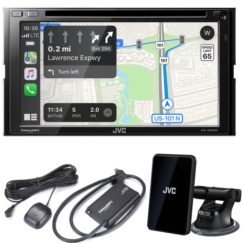 JVC KW-V960BW CD\DVD AV Receiver with Bluetooth, Wireless Android Auto & Wireless Apple CarPlay, Includes KS-GC10Q Qi Wireless Charging and SXV300v1 Satellite Tuner