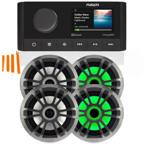 "Fusion MS-RA210 Marine AM/FM/BT/NEMA2000/SiriusXM Ready Stereo with 2 Pair Fusion EL-FL651SPG EL Series 6.5"" Shallow Mount RGB LED, Sports Grey Grille"