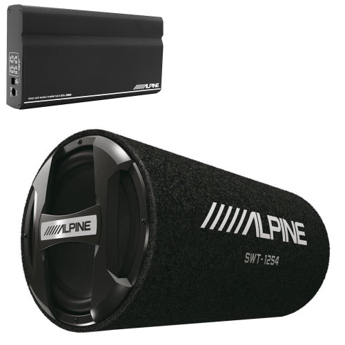 """Alpine KTA-200M Mono Power Pack Amp with Alpine SWT-12S4 12"""" Loaded Tube Subwoofer"""