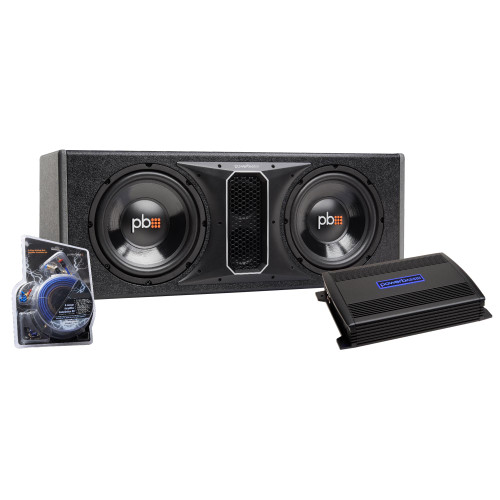 """PowerBass Party Pack - Dual 10"""" Subwoofers in vented enclosure with ASA3-400.2 Amplifier and Wiring Kit"""