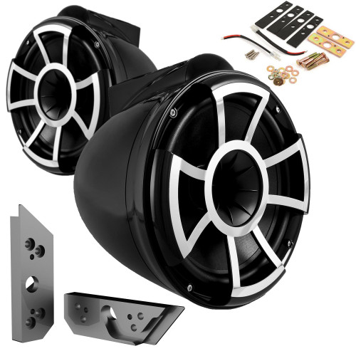 """Wet Sounds REV10B-X 10"""" Black Tower Speakers with Malibu G5 Tower Adapters"""
