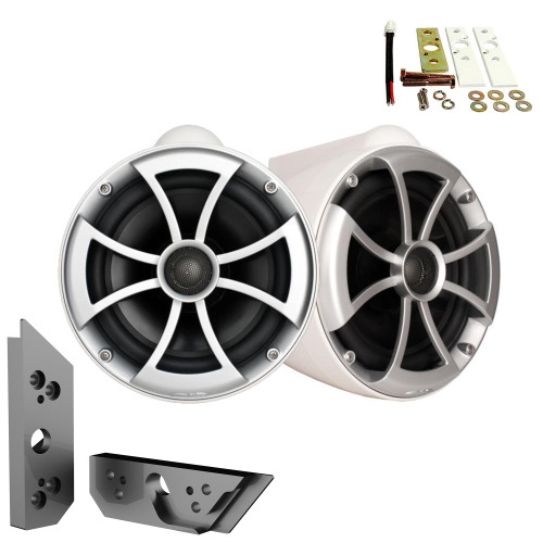 """Wet Sounds ICON8W-X 8"""" White Fixed Tower Speakers with Malibu G5 Tower Adapters"""