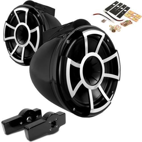 "Wet Sounds for CENTURION MAXIMUS - REV10 10"" Black Tower Speakers & CENTURION MAXIMUS Tower Adapters"