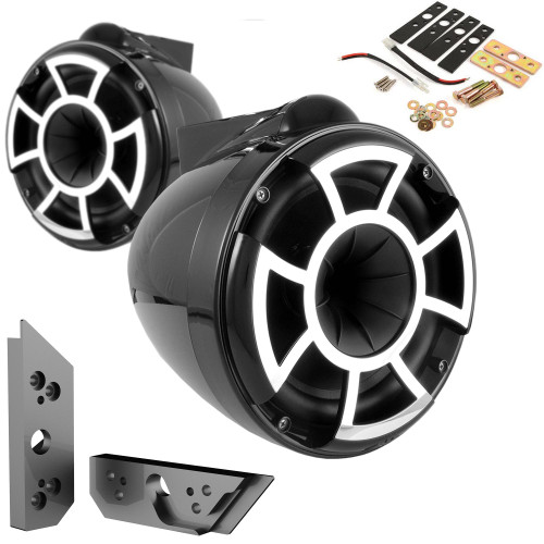 """Wet Sounds REV8B-X 8"""" BLACK Fixed Tower Speakers with Malibu G5 Tower Adapters"""