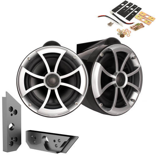 """Wet Sounds ICON8B-X 8"""" BLACK Fixed Tower Speakers with Malibu G5 Tower Adapters"""