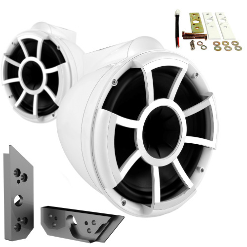 """Wet Sounds REV10W-X 10"""" White Tower Speakers with Malibu G5 Tower Adapters"""