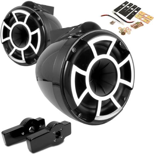 "Wet Sounds for CENTURION MAXIMUS - REV8 8"" Black Tower Speakers & CENTURION MAXIMUS Tower Adapters"