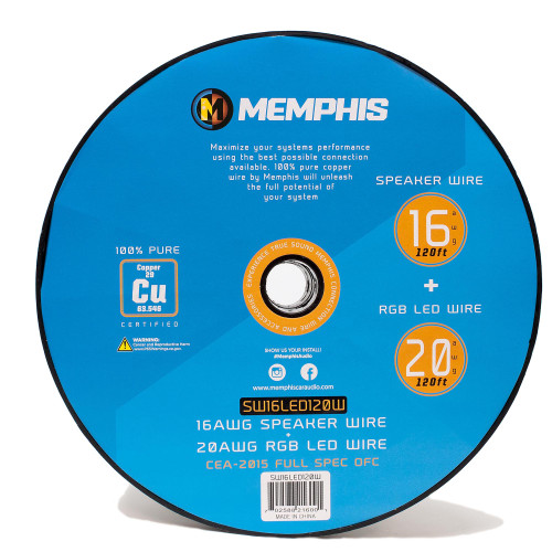 Memphis Audio  SW16LED120W 16 AWG Speaker Wire, RGB LED 120ft.WHITE
