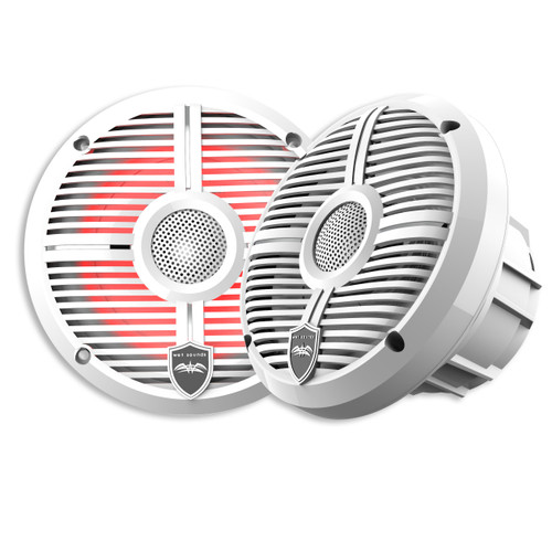 Wet Sounds REVO 6-XWW White Closed XW Grille 6.5 Inch Marine LED Coaxial Speakers (pair) - Used Acceptable
