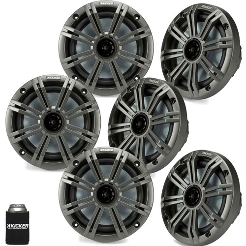 "Kicker 6.5"" Charcoal Marine Speakers (QTY 6) 3 pairs of OEM replacement speakers"