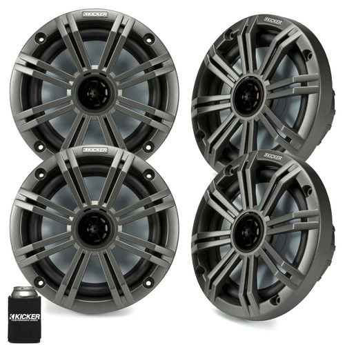 """Kicker 6.5"""" Charcoal Marine Speakers (QTY-4) 2 pairs of OEM replacement speakers"""