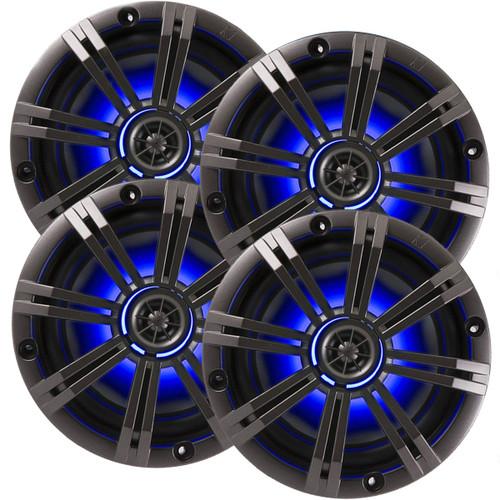 "4) Kicker OEM Replacement 6"" 390 Watt 2-Way Marine/Boat Car Audio Coaxial Speakers KM6LC"