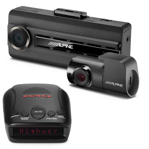 K40 RLS2 Portable Radar/Laser Detector with GPS with Alpine DVR-C310R Premium 1080P Dash Camera Bundle (Front & Rear) with Impact Recording
