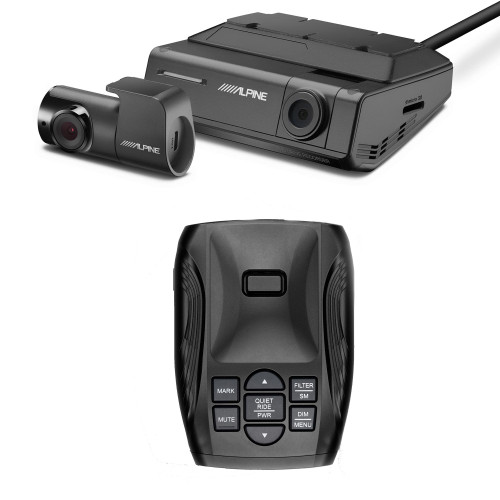 K40 Platinum100 LNA Radar/Laser Detection with GPS Tech, OLED Display - K40-100 with Alpine DVR-C320R Premium 1080P Night Vision Dash Camera Bundle (Front + Rear) with Built-In Drive Assist