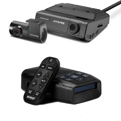 K40-100-RC LNA Radar/ Laser Detection with GPS Tech, OLED Display & Wireless Control - K40-100-RC with Alpine DVR-C320R Premium 1080P Night Vision Dash Camera Bundle (Front + Rear) with Built-In Drive Assist