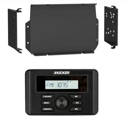 Kicker KMC3 Waterproof Marine Radio with MPS-GEN02 16-20 Polaris General Dash Kit