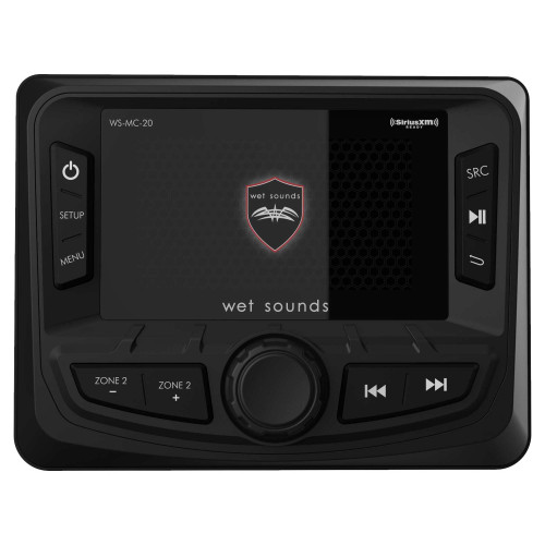 """Wet Sounds WS-MC-20 2-Zone Media Center With Bluetooth, AM/FM/Weather Band, USB, 3"""" Color Display"""