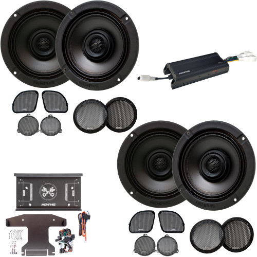 Memphis Audio MXAHDPRO4 4 6.5 Inch Speaker Motorcycle Audio compatible with Harley Davidson Direct OEM Kits