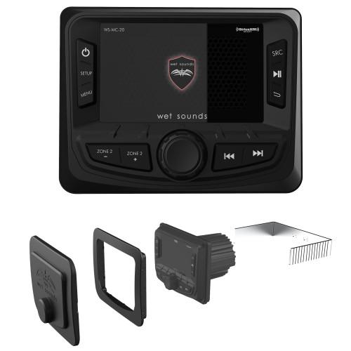 Wet Sounds WS-MC-20 2-Zone Media Center with WS-MC-20-FMK Flush Mount Kit for MC-20
