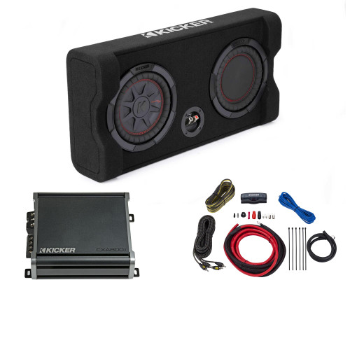 Kicker Comp RT 8 Inch 48TRTP82 Thin Down Firing Enclosure Package with 46CXA4001 Amplifier and wire kit