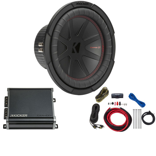 Kicker 10 Inch Comp R Woofer 48CWR104 Package with 46CXA4001 Amplifier and wire kit