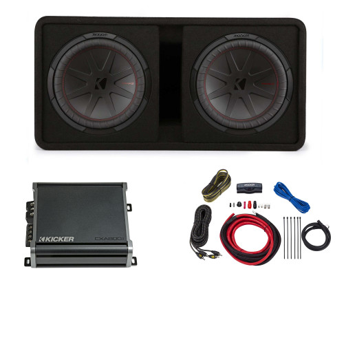 Kicker Comp R 12 Inch Dual Subwoofer in Vented Enclosure Package with 46CXA8001 Amplifier and wire kit