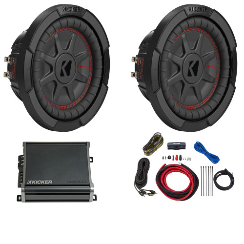 Kicker 8 Inch Comp RT Thin Woofer Includes Two 48CWRT82 Package with 46CXA4001 Amplifier and wire kit
