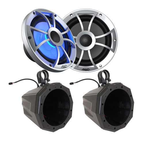 """Wet Sounds Recon8-S RGB 8"""" Sliver Grill Marine Speakers with SSV US2-C8 Universal 8-inch Cage Mount Speaker Pods With Clamps"""
