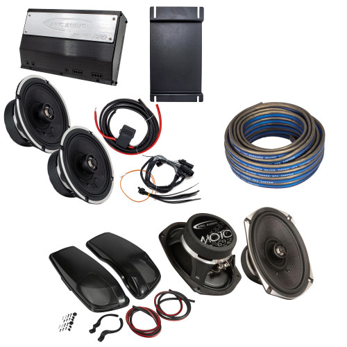"""Arc Audio MPAK14CX Harley 2014+ with Coaxial Speakers, MOTO692 6"""" x 9"""" Coax Speakers and Kicker 46HDBL Bag Lids"""