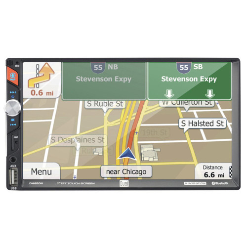 """Dual DM620N 7"""" Navigation Media Receiver with Built-In Navigation and Bluetooth"""