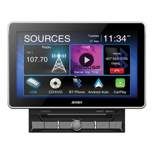 """Jensen CAR8000 10.1"""" CD/DVD Multimedia Receiver With Carplay And Android Auto"""
