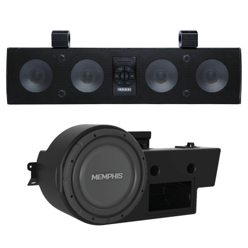 Memphis Audio For Polaris General UTV Bundle - MXA46SB28 Powersports Sound Bar with GEN10SE  Powered 10 Inch Subwoofer