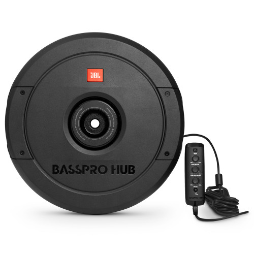 """JBL Basspro Hub - 11"""" Spare Tire Powered Subwoofer System with 200W Amplifier, Black"""