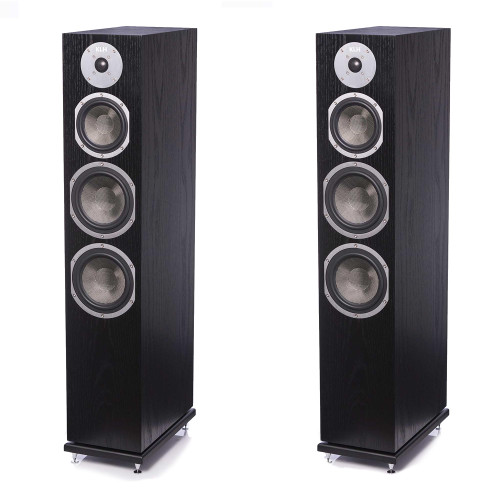 KLH Kendall Floorstanding Loudspeaker, 3-Way Bass Reflex with Woven Kevlar Drivers - Pair, Black Oak
