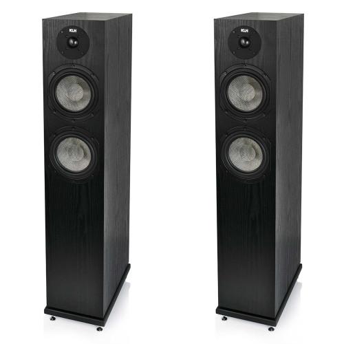 KLH Concord Floorstanding Loudspeaker, 2.5-Way Bass Reflex with Woven Kevlar Drivers - Pair, Black Oak Veneer