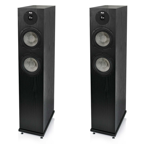 KLH Concord Floorstanding Loudspeaker, 2.5-Way Bass Reflex with Woven Kevlar Drivers - Pair, Black Oak Veneer