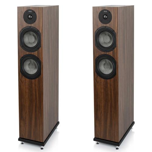 KLH Concord Floorstanding Loudspeaker, 2.5-Way Bass Reflex with Woven Kevlar Drivers - Pair, European Walnut Veneer