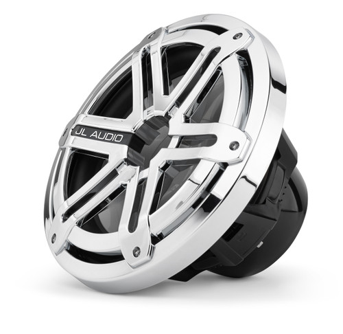 JL Audio MX10IB3-SG-CR Marine 10-inch Subwoofer: Black, with Chrome Sport Grille, OEM brown box package, Black Badge Only