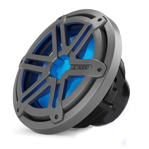 JL Audio MX10IB3-SG-TLD-B 10-inch Marine Subwoofer, Titanium Sport Grille with Blue LED, 4 Ohm, OEM brown box package, Black Badge Only