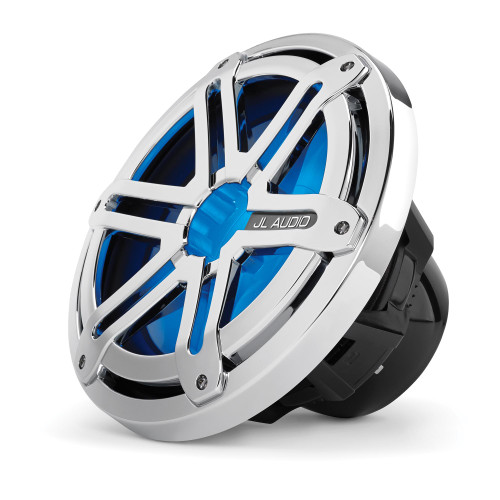 JL Audio MX10IB3-SG-CLD-B 10-inch Marine Subwoofer Driver, Chrome Sport Grille with Blue LED, 4 Ohm, OEM brown box package, Black Badge Only