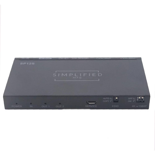 Simplified MFG SP12S 1 to 2 HDMI 2.0b (18Gbps) splitter with Scaling Feature