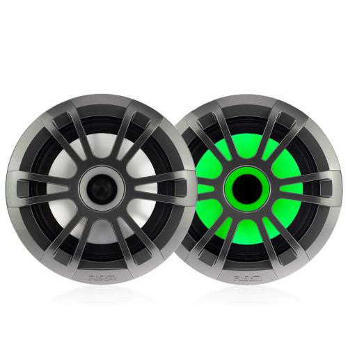 "Fusion Entertainment EL Series 6.5"" 80 Watt Full Range Shallow Mount Marine Speakers with LEDs - Pair, Grey - Open Box"