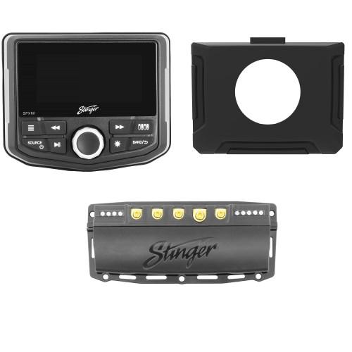 Stinger SPXM1 Marine/Powersports Media Player with SPXSH440 100 Amp Switch Hub and 2014-18 RZR Dash Kit