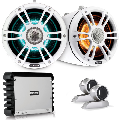 Fusion SG-FLT882SPW 8.8'' Sports White Tower Speaker with Swivel Clamps and SG-DA41400 4-Channel Amplifier