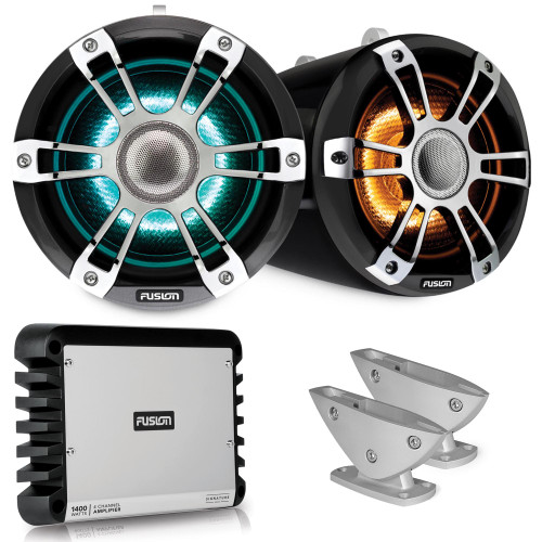 Fusion SG-FLT882SPC 8.8'' Sports Grey Chrome Tower Speaker with Deck Mount and SG-DA41400 4-Channel Amplifier