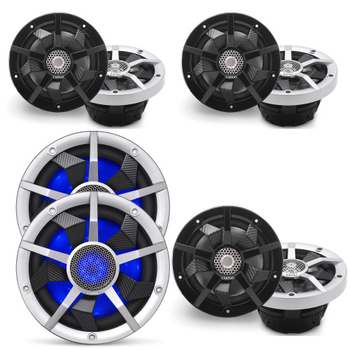 Clarion Marine Speaker System 1 pair Bow Speakers, 2 pair of Cockpit 6.5 Inch, and 1 pair (2) 10 Inch Subwoofer all with RGB LED Lights