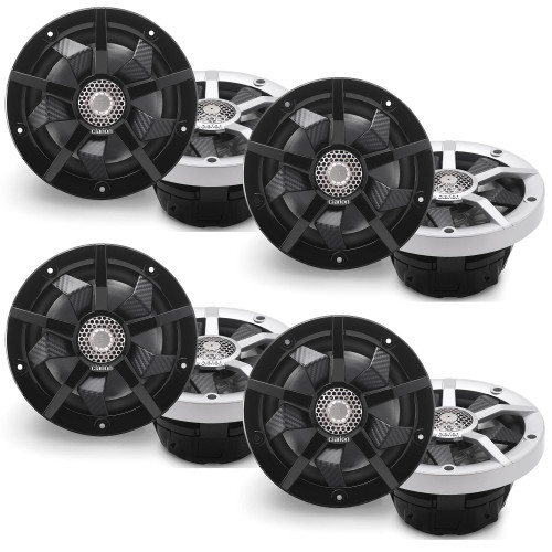 Clarion Marine CM1623RL 8 Speaker (4 Pair) Package RGB LED Includes both Silver and Black grills