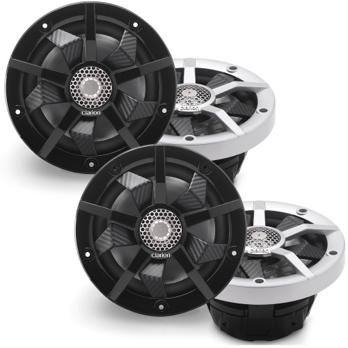 Clarion Marine CM1623RL 4 Speaker (2 Pair) Package RGB LED Includes both Silver and Black grills