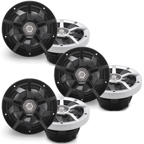 Clarion Marine CM1623RL 6 Speaker (3 Pair) Package RGB LED Includes both Silver and Black grills