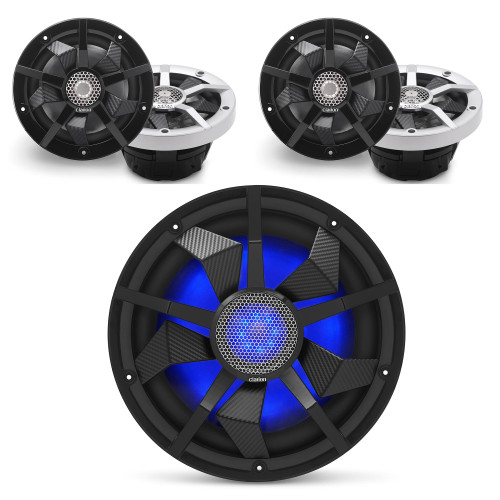 Clarion Marine Speaker System 2 pair (4) 6.5 Inch speakers, and a 12 Inch Subwoofer all with RGB LED Lights